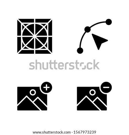Graphic Design Icon Set Including Guide, Anchor Point, Add Image and Remove Image