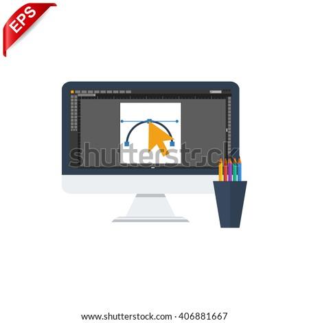 graphic design icon, vector graphic design studio icon, isolated design symbol