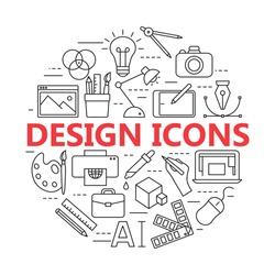 Graphic design icons, vector symbols. Printing and graphic design icons in thin outlines.