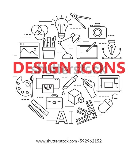 Graphic design icons, vector symbols. Printing and graphic design icons in thin outlines.