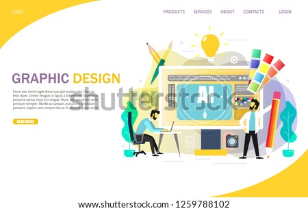 Graphic design landing page website template. Vector illustration. Desktop computer with AI letters and designers illustrators creating vector graphics for customer using computer design programs.