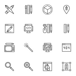 Graphic design line icons set, outline vector symbol collection, linear style pictogram pack. Signs, logo illustration. Set includes icons as designer tools, magic wand, website design, graphic tablet