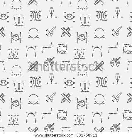 Graphic design minimal pattern - vector designer seamless background with linear signs