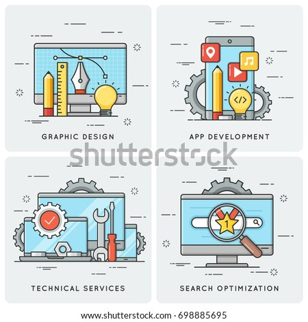 Graphic design. Mobile app development. Technical services. SEO Search optimization. Vector flat line concepts, icons, illlustrations.