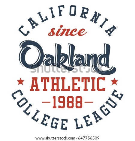 Graphic design oakland athletic for t-shirts