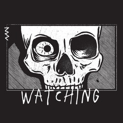 Graphic design of a cartoon skull with black background and typography. Vector illustration