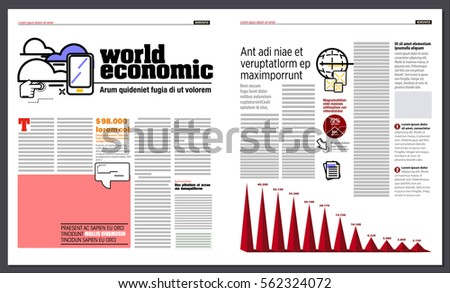 Graphic design of a newspaper, with modern icons representing technology and highlighting some information