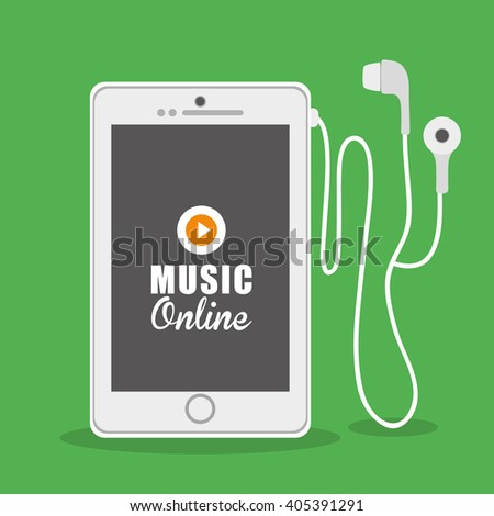 Graphic design of Music Online , vector illustration