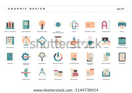 Graphic design. Set of pixel-perfect icons. Flat color style. Variety of unique visual metaphors suitable for wide range of uses.