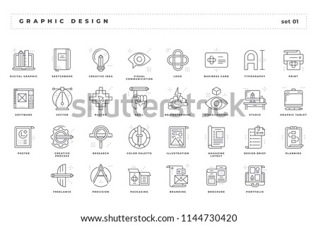 Graphic design. Set of pixel-perfect icons. Thin line style. Variety of unique and creative visual metaphors suitable for wide range of uses.