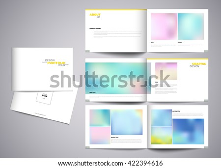 Graphic design studio portfolio template. White creative pages and cover design with your text, photo or illustrations. Paper portfolio book vector eps10 modern template