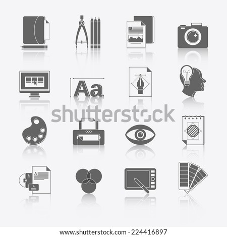 Graphic design studio tools black icons set with brush marker camera isolated vector illustration.