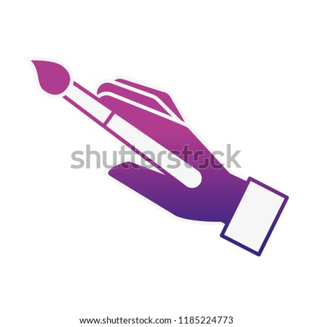graphic designer hand with paint brush tool #1185224773