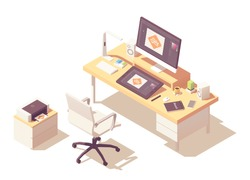 Graphic designer home office or studio workspace. Vector isometric room cross-section with desk, desktop pc, graphic tablet, sketch book, office chair, printer and stylish lamp