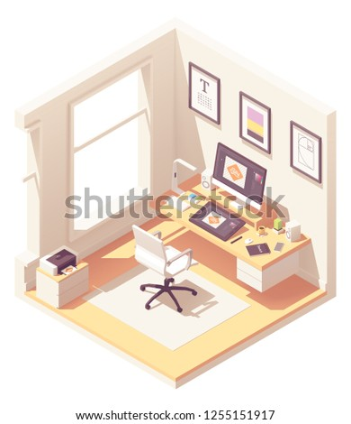 Graphic designer home office or studio workspace. Vector isometric room cross-section with desk, desktop pc, graphic tablet, sketch book, office chair, printer and color palettes book