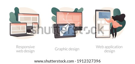 Graphic designer service abstract concept vector illustration set. Responsive web design, graphic and web application, UI and UX, landing page layout, user interface, CSS media abstract metaphor. Foto stock ©