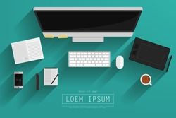 Graphic designers desk top view,Vector EPS10.