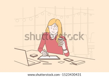 Graphic designers, digital artist occupation concept. Young woman drawing on tablet screen with stylus, relaxed girl drinking coffee in cafe, coworking center. Simple flat vector