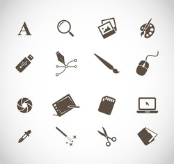 Graphic designers tools icon set