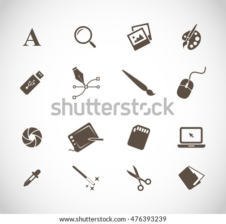 Graphic designers tools icon set  stock photo