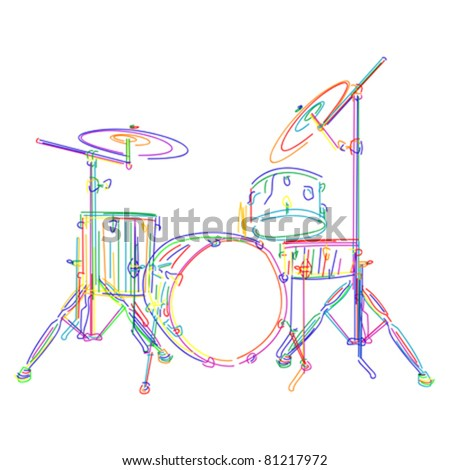 Graphic drums kit over white background