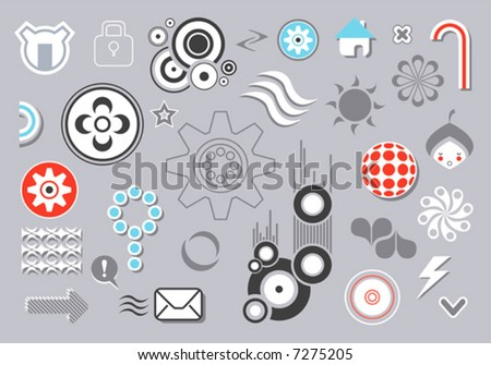 graphic elements set (icons, abstract and simple-form elements) - stock vector
