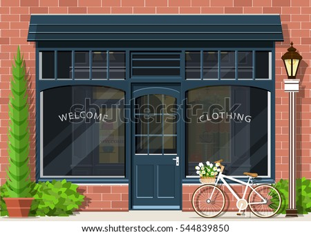 Graphic fashion shop facade. Stylish street store exterior design. Flat style vector illustration.