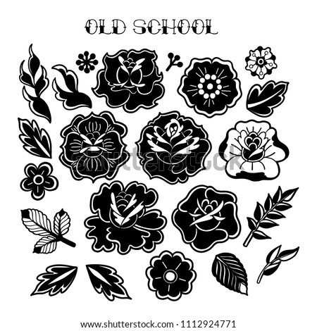 Graphic floral collection isolated on white background. Vector old school tattoo design. Traditional style
