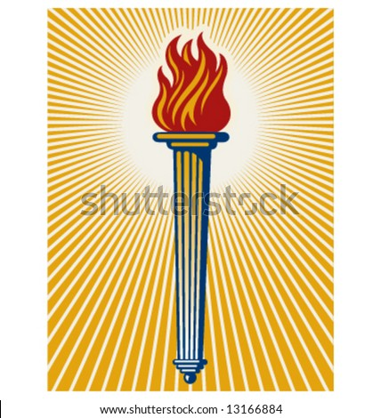 Graphic illustration of a flaming torch with radiating light beams.