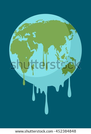 Graphic illustration of a melting earth, concept for global warming