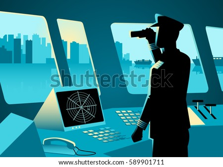Graphic illustration of a ship captain using a binoculars in navigation room
