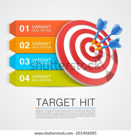 Graphic information target with darts. Vector illustration ストックフォト ©