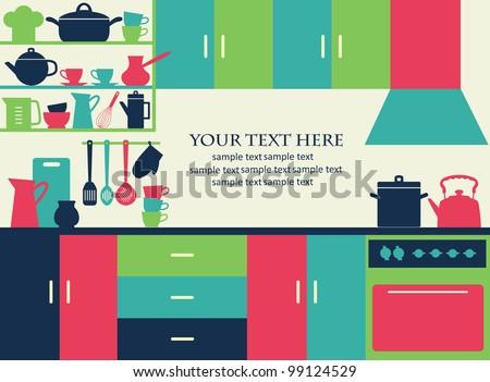 graphic kitchen interior card. vector illustration
