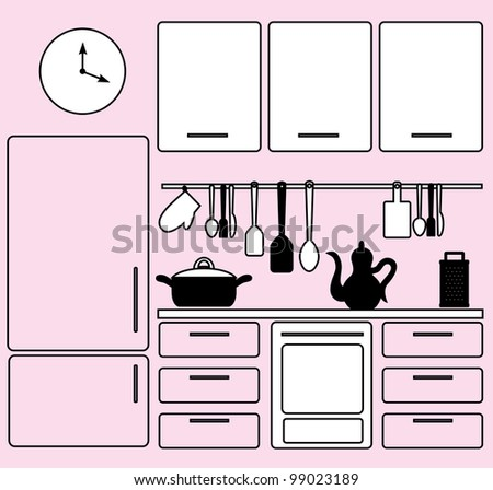 graphic kitchen interior. vector illustration