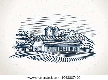 graphic landscape with farm and ...