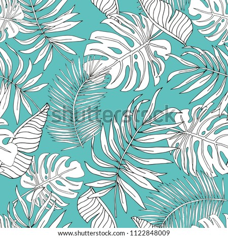 Graphic linear silhouette banana, palm leaves with turquoise background. Vector seamless pattern. Tropical jungle foliage illustration. Exotic plants. Summer beach floral design. Paradise nature