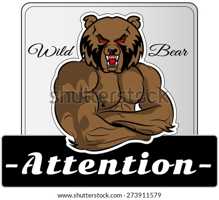 Graphic Mascot Vector Image of a bear boxer. Logos for sport athletic club. Coat of Arms for the gym or sports shop. Vector illustration Eps 10