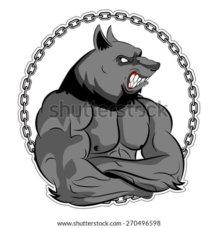 Graphic Mascot Vector Image of a wolf boxer. Logos for sport athletic club. Coat of Arms for the gym or sports shop. Vector illustration Eps 10