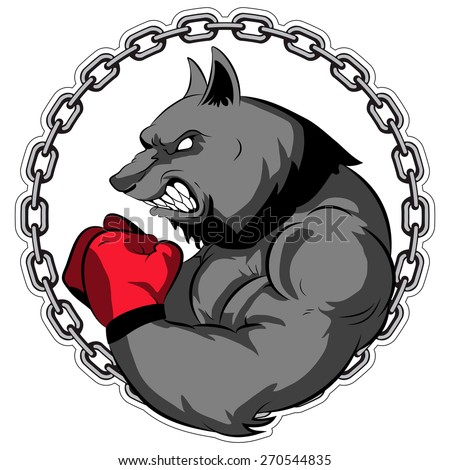 Graphic Mascot Vector Image of a wolf boxer. Logos for sport athletic club. Coat of Arms for the gym or sports shop. Chain. Vector illustration Eps 10