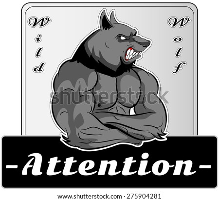 Graphic Mascot Vector Image of a wolf boxer. Logos for sport athletic club. Coat of Arms for the gym or sports shop. Wolf head. Vector illustration Eps 10