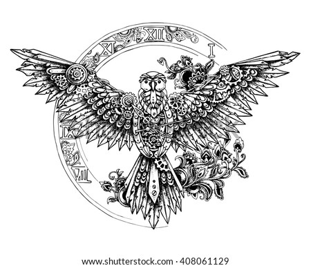 graphic mechanical bird with...