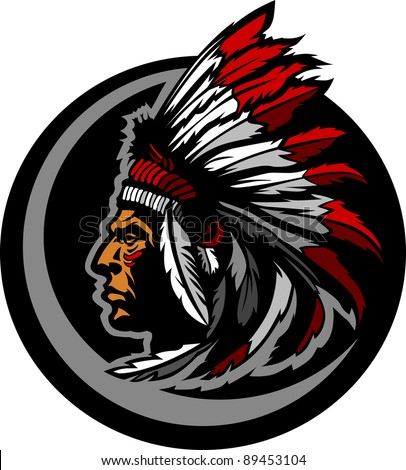 Graphic Native American Indian Chief Mascot with Headdress