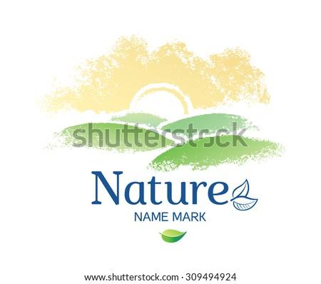 Graphic nature landscape, the design elements.