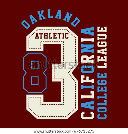 graphic OAKLAND for shirt and print