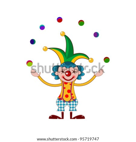 graphic of a clown joggling over white background - stock vector