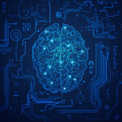 graphic of a digital brain with futuristic background; concept of artificial intelligence or ai technology advancement;