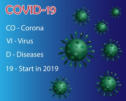 Graphic of coronavirus diseases (COVID-19) with definition of COVID-19, Isolated on gradient blue background. Vector Illustration. Idea for coronavirus outbreak, caution, awareness and prevention.