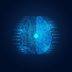 graphic of digital brain combined with electronic board in technology look; abstract futuristic health care; concept of artificial intelligence