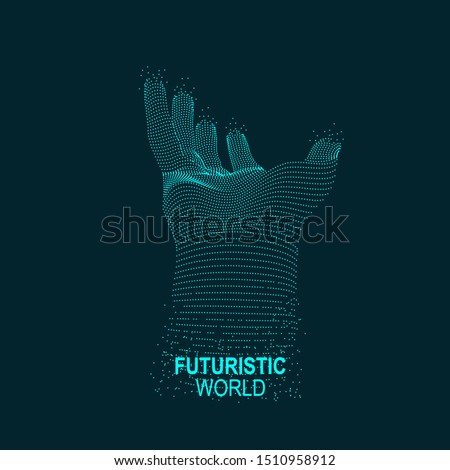 graphic of dotted hand reaching out, concept of virtual reality technology