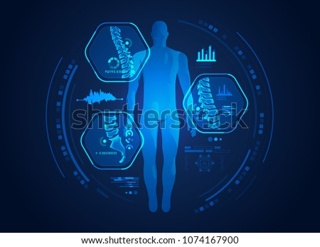 graphic of man's back x-ray with digital science interface of spines and bones scan for orthopedic proposes